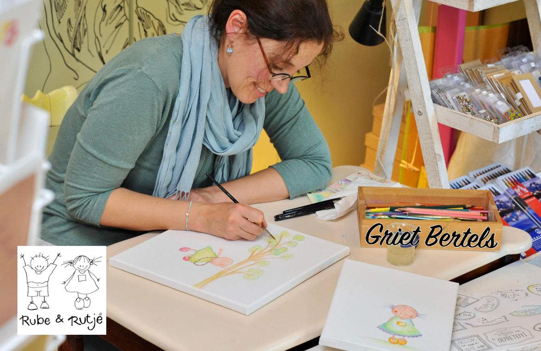 Rube en Rutje lifestyle kinderwebshop handgemaakte schilderijtjes, tekeningen, voor de meidenkamer online bestellen.