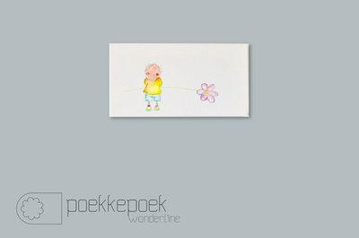 Kinderkamer decoratie voor een jongen. Goedkoop schilderijtjes van Rube & Rutje. Rube met een bloem in de hand. Leuk schild