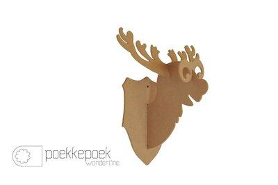 Funny 3D eland muurdecoratie voor je kerst kinderkamer. Knutseldecoratie bestaande uit MDF 4delen.  Formaat: 30 x 30 x 20 cm (h