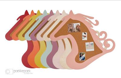 Prikbord paard met houten lijst 75 cm x 67 cm in verschillende kleuren: natuur, licht roze, roze, donker roze, mintgroen, geel,
