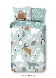 50% solden Kinderkamer winter dekbedovertrek, een dekbedhoes met een print van winter dieren zoals pinguïns en rendieren