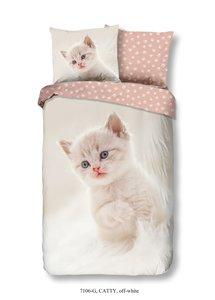 Good Morning Kids Catty dekbedovertrek 140x220cm is een dekbedhoes met afbeelding van een schattige snoezig katje. Lekker slape
