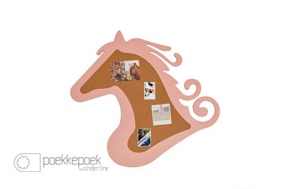 Dieren prikbord kurk paard roze 75 x 67 cm, paardenkamer decoratie tip! Prikbord 'paard' roze houten kinderkamer
