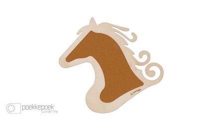 Groot dierenkop kurk prikbord paard kopen voor foto's en kaartjes. Houten decoratie memobord voor de kinderkamer muur. E