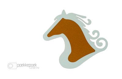 Kindermeubels: muurdecoratie kinderkamer prikbord paard mintgroen.