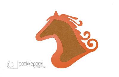 Prikbord 'paard' oranje dieren 75 x 67 cm. Meidenkamer interieur accessoires, super coole dierenkoppen. Een paarden p