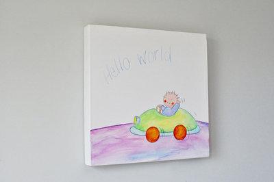 Kinderkamer auto thema, een schilderijtje van Rube & Rutje. De toffe jongen Rube in zijn knappe auto. Hippe babykamer decor