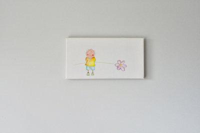Rube & Rutje canvas - Kinderkamer decoratie schilderijtje met Rubeen  een bloem in de hand.