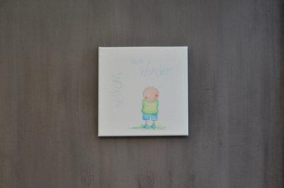 Rube & Rutje canvas - Rube welkom klein wonder, een shilderijtje als kraamcadeau.