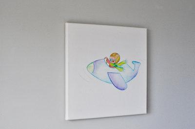 Hippe kinderkamer decoratie, jongenskamer Rube & Rutje canvas. Rube vliegt met zijn vliegtuig door je kinderkamer. Muurdeco