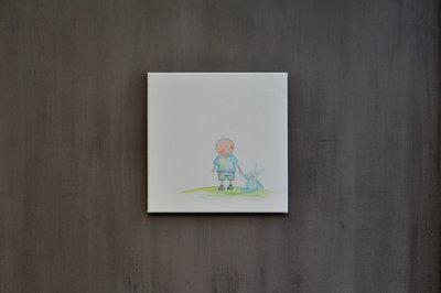 Rube & Rutje babykamer decoratie, handgemaakt schilderijtje. Kinderkamer decoratie baby. Rube en zijn knuffel konijn. Ieder