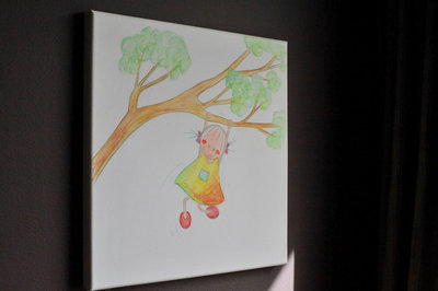 Kinderkamer decoratie muur. Rube & Rutje schilderij Rutje klimt in een boom. Boom klimmen is niet alleen voor jongens maar