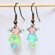 Kinderoorbellen meisjes Rube & Rutje oorbelletjes twee keer Rutje groen blauw.