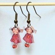 Rube & Rutje oorbelletjes twee roze meisjes.